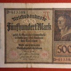 Billetes extranjeros: 500 MARCOS, ALEMANIA. 1922. (PICK.73).. Lote 261850530