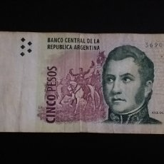 Billetes extranjeros: BILLETE DE 5 PESOS ARGENTINA. Lote 261889835
