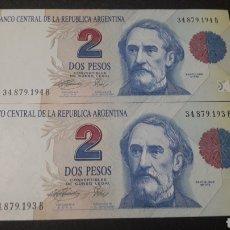 Billetes extranjeros: LOTE DE 2 BILLETES ARGENTINS CORRELATIVOS AÑO 1993 SIN CIRCULAR. Lote 262009045
