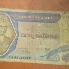 Billetes extranjeros: BILLETE 5 ZAIRE. Lote 262152740