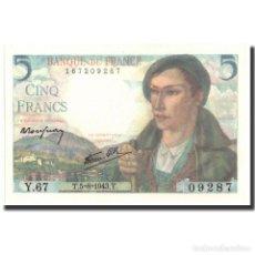 Billetes extranjeros: FRANCIA, 5 FRANCS, 5 F 1943-1947 ''BERGER'', 1943, 1943-08-05, SC, FAYETTE:5.3. Lote 262154825