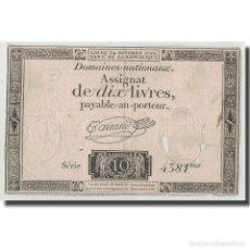 Billetes extranjeros: FRANCIA, 10 LIVRES, 1792, TAISAUD, 1792-10-24, RC+, KM:A66B, LAFAURIE:161B. Lote 262155150