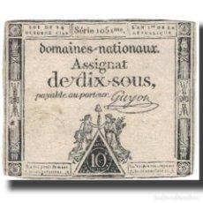 Billetes extranjeros: FRANCIA, 10 SOUS, 1792, GUYON, 1792-10-24, BC+, KM:A64A. Lote 262155200