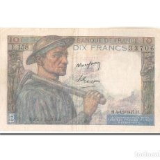 Billetes extranjeros: BILLETE, FRANCIA, 10 FRANCS, 10 F 1941-1949 ''MINEUR'', 1947, 1947-12-04, BC. Lote 262155290