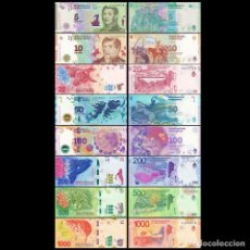 Billetes extranjeros: ARGENTINA SET 8 PCS 5 10 20 50 100 200 500 1000 PESOS 2015 2020 P 358 - 366 UNC. Lote 262185510