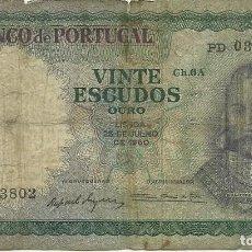 Billets internationaux: 20 ESCUDOS PORTUGAL - CHAPA 6A - 1960 - PD 03802 - FOTOS. Lote 262407360