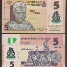 Billetes extranjeros: NIGERIA. 5 NAIRA 2020. S/C. POLIMERO.. Lote 297257098