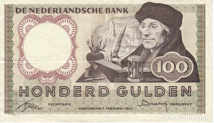 BILLETE DE HOLANDA DE 100 GULDEN DEL AÑO 1953 (BANKNOTE) ERASMUS (Numismática - Notafilia - Billetes Internacionales)