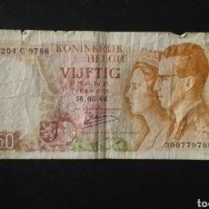 Billetes extranjeros: BILLETE DE 50 FRANCOS BELGICA AÑO 1966. Lote 262670260