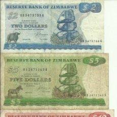 Billets internationaux: 2 + 5 + 10 + 20 DOLLARS ZIMBABWE - 1983 - MUY RARAS - FOTOS. Lote 262705455