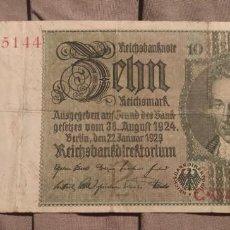 Billets internationaux: ALEMANIA 10 MARCOS 1929 ,10 REICHSMARK ( MBC-). Lote 262804940