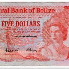 Billetes extranjeros: BELIZE,5 DOLLARS,1987,P.47A,F-VF. Lote 262937335