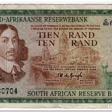 Billetes extranjeros: SOUTH AFRICA,10 RAND,1966-76,FINE,1 PIN HOLE. Lote 262938050