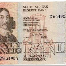 Billetes extranjeros: SOUTH AFRICA, 20 RAND,1982-85,P.121C,VF,2 PIN HOLES. Lote 262939010