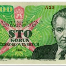 Billetes extranjeros: CZECHOSLOVAKIA,100 KORUN,1989,P.97,XF. Lote 262939090