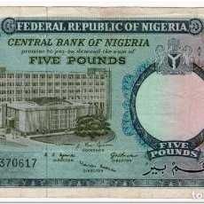 Billetes extranjeros: NIGERIA,5 POUNDS,1967,P.9,SMALL TEAR,2 PIN HOLES,F+. Lote 262939405