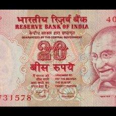 Billetes extranjeros: INDIA 20 RUPEES GANDHI 2011 PICK 96M SIN LETRA SC UNC. Lote 262939445