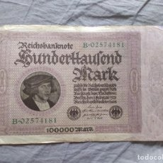 Billetes extranjeros: ALEMANIA 100000 MARCOS 1923 (SERIE B). Lote 263155765