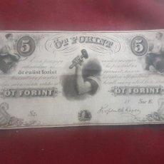 Billetes extranjeros: HUNGRIA HUNGARY 5 FORINT 1852. Lote 263156095
