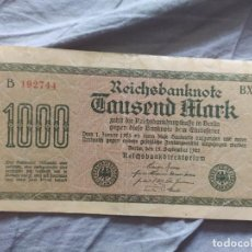 Billetes extranjeros: ALEMANIA 1000 MARCOS 1922 (MBC). Lote 263156250