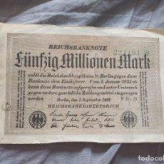 Billetes extranjeros: ALEMANIA 50 MILLONES MARCOS 1923 (MBC). Lote 263156525