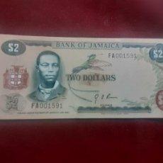 Billetes extranjeros: BILLETE JAMAICA , 2 DOLLARS DOLARES 1960 - SIN CIRCULAR SC. Lote 263157270