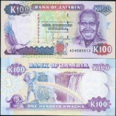 Billetes extranjeros: ZAMBIA 100 KWACHA 1991 P 34 UNC. Lote 263605840