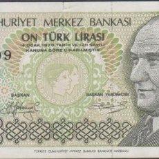 Billetes extranjeros: BILLETES - TURQUIA - 10 LIRA 1979 - SERIE C60 064809 - PICK-192 (MBC). Lote 263607630