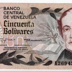 Banconote internazionali: VENEZUELA,50 BOLIVARES,1981,P.58,XF,5 PIN HOLES. Lote 265973703