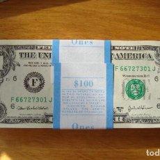Billetes extranjeros: TACO 100 BILLETES 1 DÓLAR ESTADOS UNIDOS - SIN CIRCULAR PLANCHA. Lote 266331343