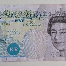 Billetes extranjeros: BILLETE DE FIVE POUNDS. Lote 267305909