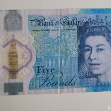 Billetes extranjeros: BILLETE 5 POUNS POLÍMERO. Lote 267306179