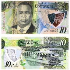 Billets internationaux: BOTSWANA 10 PULA 2020/2021 P NEW POLYMER UNC. Lote 267525354