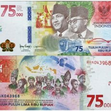 Billets internationaux: INDONESIA 75000 75,000 RUPIAH 2020 COMM 75TH INDEPENDENCE UNC. Lote 267526369