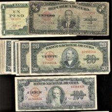 Banconote internazionali: LOTE 21 BILLETES DE CUBA 1, 20 Y 100 PESOS. Lote 267869539
