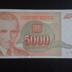 Notas Internacionais: BILLETE DE 5000 DINARA YUGOSLAVIA AÑO 1993. Lote 268183314