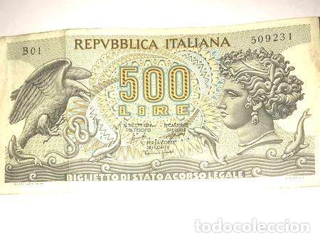 BILLETE 500 LIRAS ITALIANAS 1966 (Numismática - Notafilia - Billetes Internacionales)