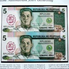 Banconote internazionali: ⚜️ A2208! MUY BUENO! CONMEMORATIVO, PLANCHA. DOBLE DE 5 PISO 1949-1989. FILIPINAS. Lote 268755439