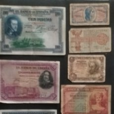 Billetes extranjeros: LOTE 8 BILLETES ANTIGUOS ESPAÑOLES. Lote 268828824