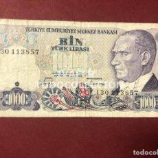Billetes extranjeros: BILLETE 1000 LIRAS TURQUIA, 1970. Lote 268905559