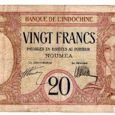 Billetes extranjeros: NUEVA CALEDONIA P-37A 20 FRANCOS 1945 FINE. Lote 268907659