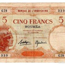 Billetes extranjeros: NUEVA CALEDONIA P-36B 5 FRANCOS 1945 FINE. Lote 268907664