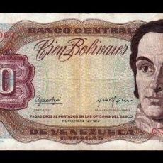 Billetes extranjeros: VENEZUELA 100 BOLÍVARES 1972 PICK 55A SERIE C BC/MBC F/VF. Lote 269206998
