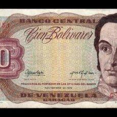 Billetes extranjeros: VENEZUELA 100 BOLÍVARES 1972 PICK 55A SERIE C BC/MBC F/VF. Lote 269208118