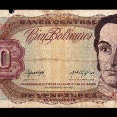Billetes extranjeros: VENEZUELA 100 BOLÍVARES 1972 PICK 55A SERIE A RC G. Lote 269209718