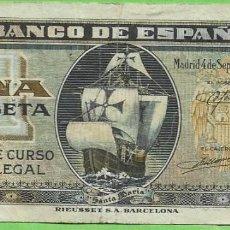 Billetes extranjeros: BILLETE DE 1 PESETA 1940. SERIE G. Lote 269308738