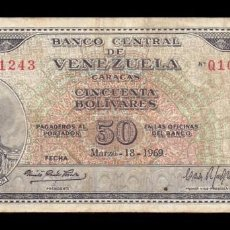 Billetes extranjeros: VENEZUELA 50 BOLIVARES SIMÓN BOLÍVAR 1969 PICK 47E MBC VF. Lote 63812771