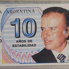 Billetes extranjeros: BILLETE DE ARGENTINA MENEM 10 AÑOS DE ESTABILIDAD 1999. Lote 270133823