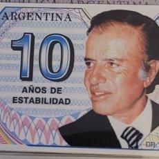 Billetes extranjeros: BILLETE DE ARGENTINA MENEM 10 AÑOS DE ESTABILIDAD 1999. Lote 270133863