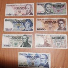 Billetes extranjeros: LOTE 7 BILLETES POLONIA ZLOTYCH ESLOTI AÑOS 80. Lote 270246088